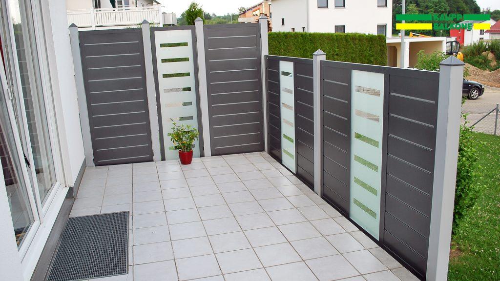 alu sichtschutz wei enhorn kaupp balkone. Black Bedroom Furniture Sets. Home Design Ideas